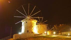 Historical mill at night, travel destination, alacati, cesme, turkey stock video footage