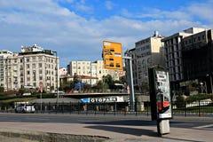 Sishane Boulevard Beyoglu Istanbul. Historical & Modern Buildings, Parking Garage, Boulevard in Sishane Beyoglu Istanbul Turkey Royalty Free Stock Photos