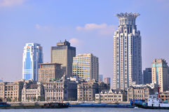 Historical and modern buildings in Shanghai Bund Stock Photography