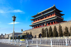 Historical and modern city. Beijing, China. Imperial and ancient chinese building in modern Beijing city, China royalty free stock photo