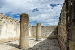 Historical monument in an the ancient Mesoamerican city. Historical monument in the ancient Mesoamerican city of Mitla Mexico Stock Photo