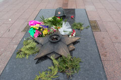 Historical monument for soviet union soldiers whom died during second world war Stock Images