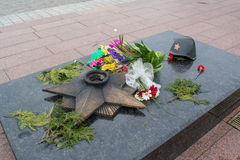 Historical monument for soviet union warriors died during second world war Stock Image