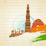Historical Monuments for Indian Republic Day celebration. Creative Historical Monuments with saffron and green colour paint strokes on Ashoka Wheel decorated Stock Images