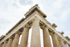 Historical monuments and temples in European capitals. Details of ancient buildings close-up. Greece, Athens, April 2018. Architecture of ancient Greece. Marble royalty free stock image