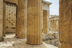Historical monuments and temples in European capitals. Details of ancient buildings close-up. Greece, Athens, April 2018. Architecture of ancient Greece. Marble royalty free stock photography