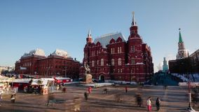 Historical Museum and Christmas Fair. Moscow. Time stock video