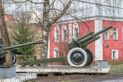 Historical Museum of the city of Rzhev, Tver region. Outdoor exhibition of Soviet artillery. This soviet 122mm howitzer was released in 1938 and used in battles Stock Photography