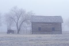 Historical museum at Fort Missoula, MT in fog stock photo