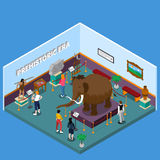 Historical Museum Isometric Illustration. Historical museum with ancient man and weapon, mammoth, rock painting, visitors on blue background isometric vector Royalty Free Stock Photo