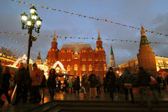 Historical museum and Moscow Kremlin at evening. Stock Photos