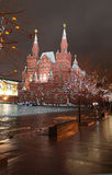 Historical Museum and New Year decor on Red Square, Moscow, by night. Stock Photos