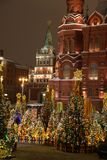 Historical Museum of Russia, Moscow, red square. View of the Kremlin and the historical center of Moscow, red square, Moscow, winter Stock Photos