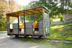 Historical narrow gauge railway passanger car. In Covasna, Transylvania, Romania Royalty Free Stock Photography