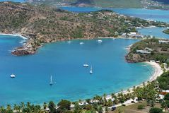 Historical Nelson's Bay. Close look of historical Nelsons Bay on Antigua island where XIX century Georgian harbour is standing - the only one in the world that Royalty Free Stock Photos