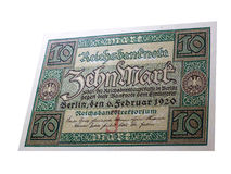 Historical note. 10 Mark of 1920 - Germany. Great preserved bank notes on a white background royalty free stock images
