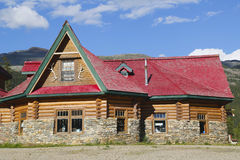 Historical Num-Ti-Jah Lodge near Bow Lake in Banff National Park Stock Photography