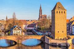 Historical old Bridge of Strasbourg, Alsace stock photography