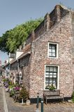 Old Dutch houses in the town of Hardenberg. Historical old Dutch houses in the town of Hardenberg with trees behind the houses Royalty Free Stock Photography