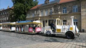 Historical old town of Bayreuth - city train stock video