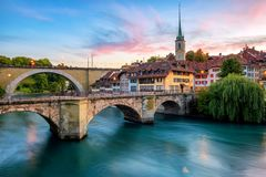 Historical Old Town of Bern city on dramatic sunset, Switzerland royalty free stock photo
