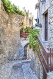 In the historical old town of the charming village Malcesin Royalty Free Stock Photos