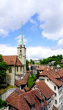 Historical old town city and church on bridge Stock Photos