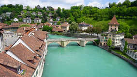 Historical old town city and river Scene Royalty Free Stock Photos
