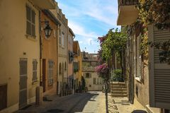 Historical Old Town of St Tropez, a popular resort on Mediterranean sea, Provence, France stock photography