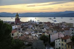 Historical Old Town of St Tropez, a popular resort on Mediterranean sea, Provence, France