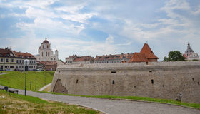 Historical old town street view(near castle) in Vilnius, Lithuania. Vilnius,Lithuania- August 8, 2014 - historical old town street view(near castle) in Vilnius Stock Image