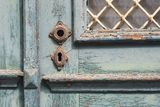 Historical ols door - the color is peeling off Stock Image