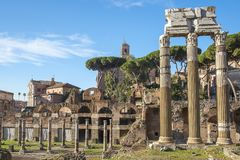 Historical open-air museum Roman Forum in Rome. Italy.  is one of the main travel destinations in Europe royalty free stock photos