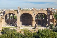 Historical open-air museum Roman Forum in Rome. Italy.  is one of the main travel destinations in Europe royalty free stock image