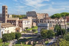 Historical open-air museum Roman Forum in Rome. Italy.  is one of the main travel destinations in Europe royalty free stock images