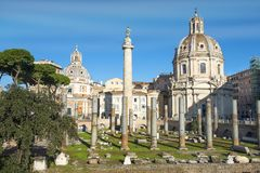 Historical open-air museum Roman Forum in Rome. Italy.  is one of the main travel destinations in Europe royalty free stock photography
