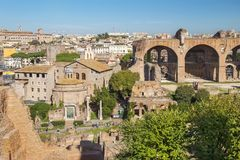 Historical open-air museum Roman Forum in Rome. Italy.  is one of the main travel destinations in Europe stock image