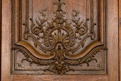 Historical Ornate Wooden Door in a Rodin Museum Paris Royalty Free Stock Photography