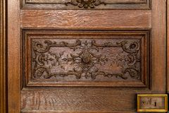 Historical Ornate Wooden Door in a Rodin Museum Paris Stock Photography