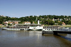 Historical paddle steamer on the river Elbe Royalty Free Stock Images