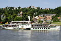 Historical paddle steamer on the river Elbe Royalty Free Stock Photo