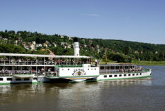 Historical paddle steamer on the river Elbe Royalty Free Stock Photography