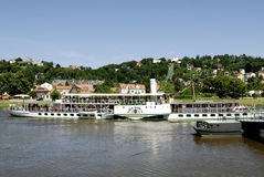 Historical paddle steamer on the river Elbe Stock Image