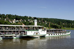 Historical paddle steamer on the river Elbe Stock Images