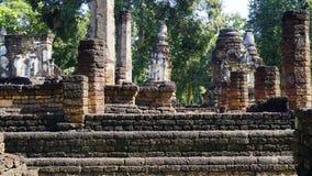 Historical Pagoda laterite steon base temple in Sukhothai Royalty Free Stock Photo
