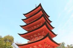 Historical pagoda temple in Miyajima Hiroshima Japan Stock Photo