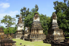 Historical Pagoda Wat chedi seven rows temple Stock Photos