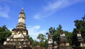Historical Pagoda Wat chedi seven rows temple in Sukhothai Stock Photo