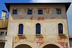 Historical palace frescoes in Portobuffolè in the province of Treviso in the Veneto (Italy). Photo made at the frescoed façade of a historic building in stock images