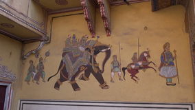 Historical palace wall  painting in Jaipur,India stock footage